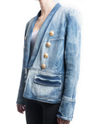 Balmain Denim Jacket with Gold Military Buttons - L / 12