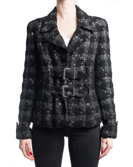 Chanel Black / Silver Metallic Tweed Jacket with Buckles