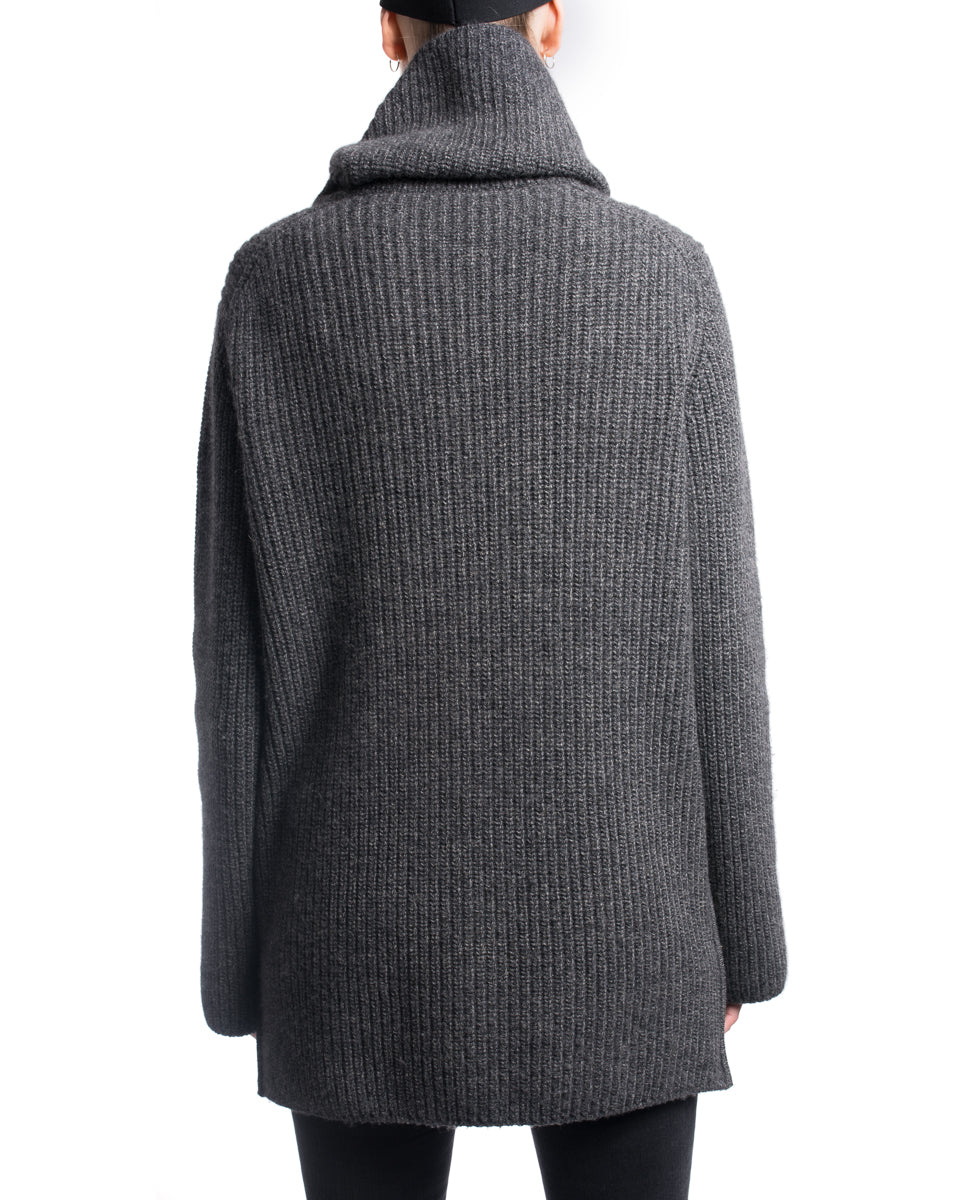 Chanel 03A Chunky Knit Grey Zip Cardigan Sweater Coat