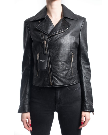 Saint Laurent Black Leather Zip Moto Biker Jacket - S