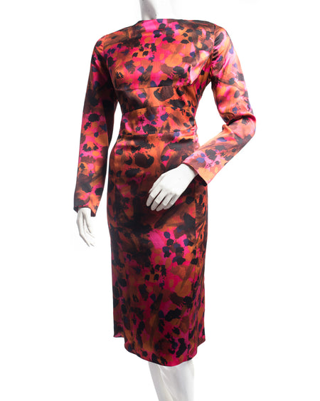 Erdem Fall 2011 Runway Pink Orange Silk Marbled Long Sleeve Wiggle Dress - L