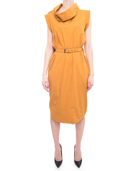 Bottega Veneta Mustard Yellow Cotton Cowl Neck Dress - 6/8