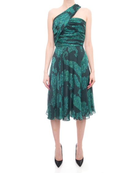 Giambattista Vali Green Silk 1950's Style Cocktail Dress - 2