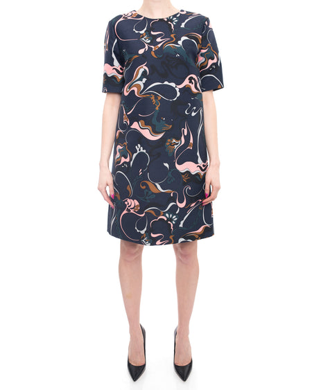 Marni Navy and Pink Short Sleeve Op Art 1960's Style Shift Dress - 8