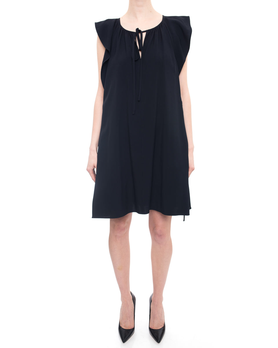 Chloe Navy Ruffle Sleeveless Dress With Side Ties - 10