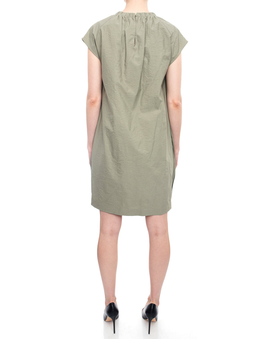 Brunello Cucinelli Khaki Green Short Shift Dress with Neck Sash - 8