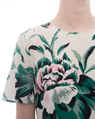 Burberry Green and Pink Silk Floral Print Short Sleeve Dress - 8