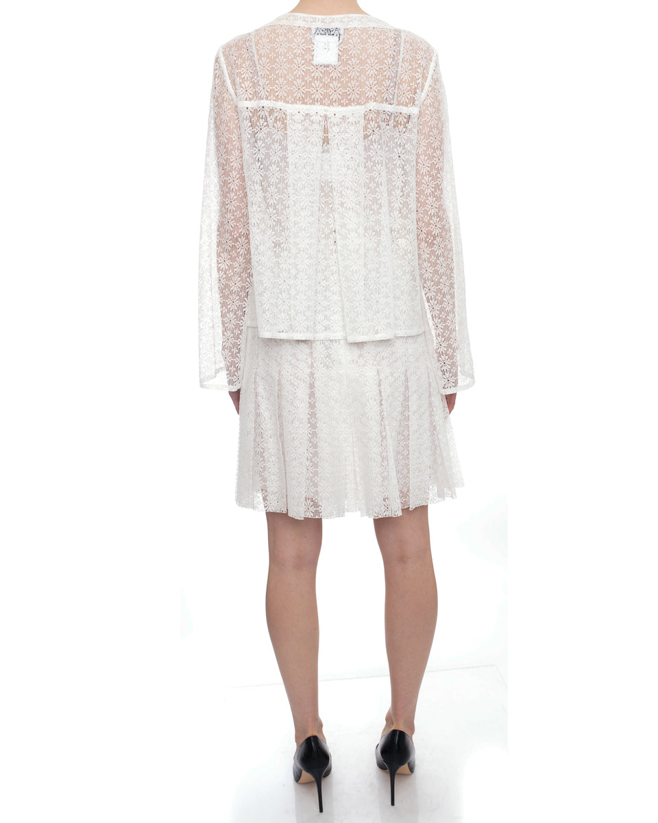 Chanel 2015 Spring Runway White Lace Pleat Skirt Suit - 4/6