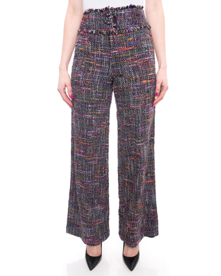 Chanel 98P Vintage 1998 Purple Tweed Wide Leg Trouser Pants