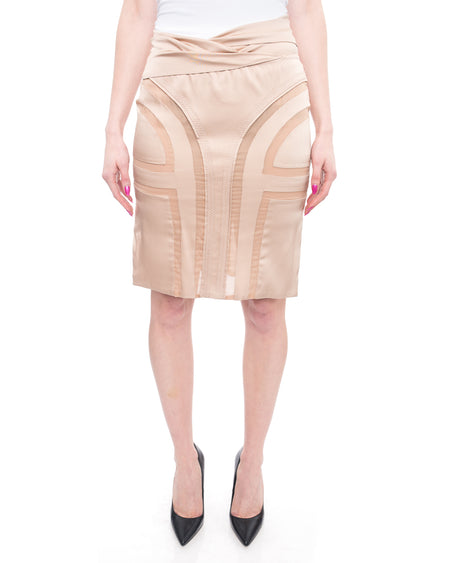 Gucci Tom Ford 2004 Nude Satin Seamed Pencil Skirt - 4