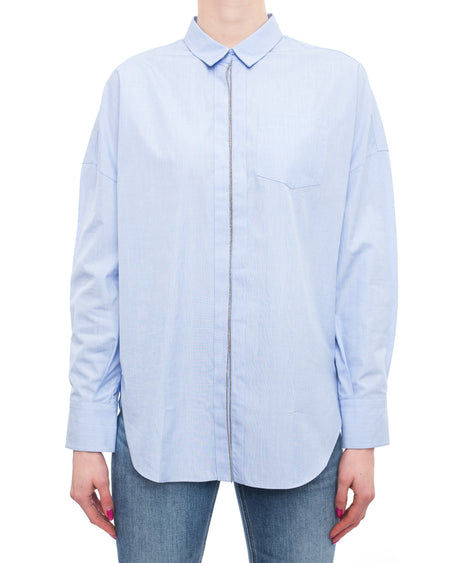 Brunello Cucinelli Blue Cotton Button Down Long Sleeve Shirt with Bead Trim