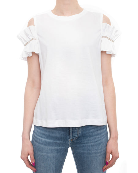 Brunello Cucinelli White Cotton Cold Shoulder T Shirt with Bead Trim - S