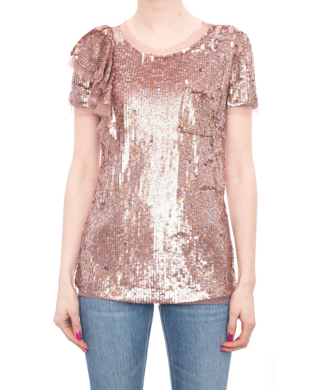 Valentino T-Shirt Couture Pink Rose Sequin Top - 4