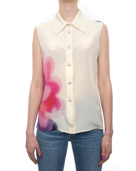 Chanel 2015 Spring Runway Ivory Silk Sleeveless Blouse with Watercolor Pink Floral CC - 38