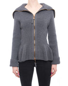 Alexander McQueen Grey Knit Zipper Front Peplum Sweater - M