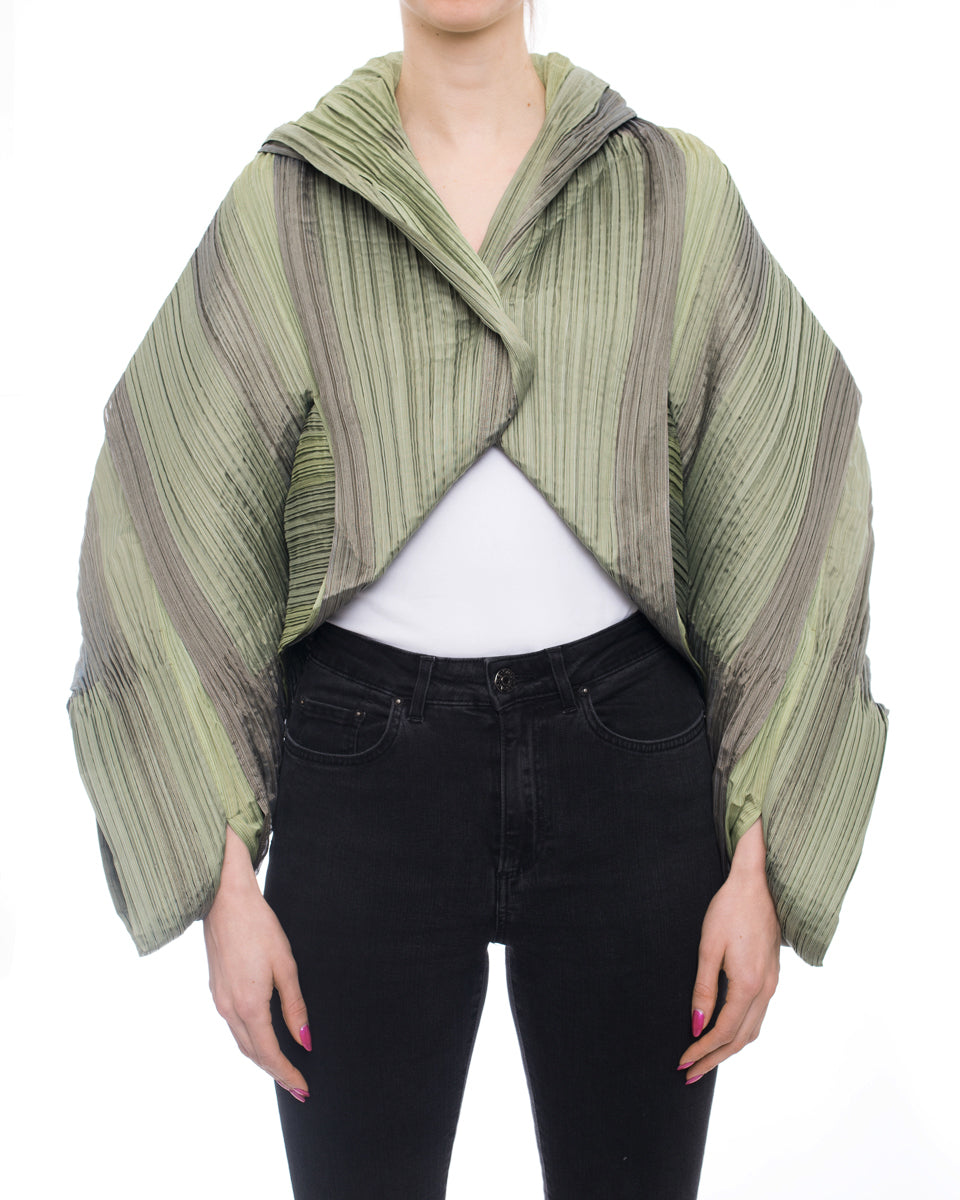 Issey Miyake Fete A Poc Green Avant Garde Architectural Pleat Crop Jacket
