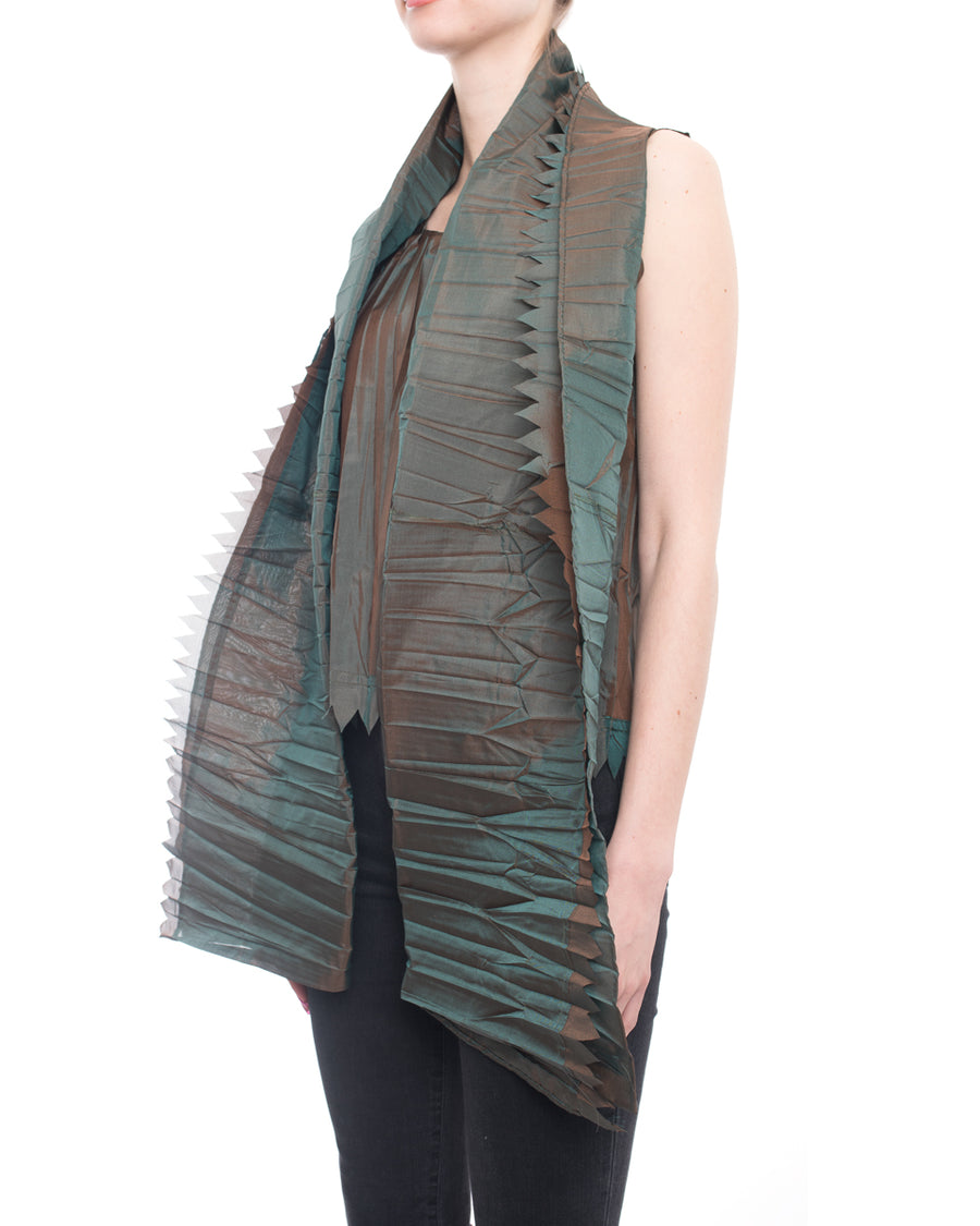 Issey Miyake Dark Green Iridescent Pleat Tank Top and Matching Scarf - M