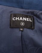 Chanel Cuba 2017 Resort Blue Denim Jacket with Satin Tux Lapel - 38