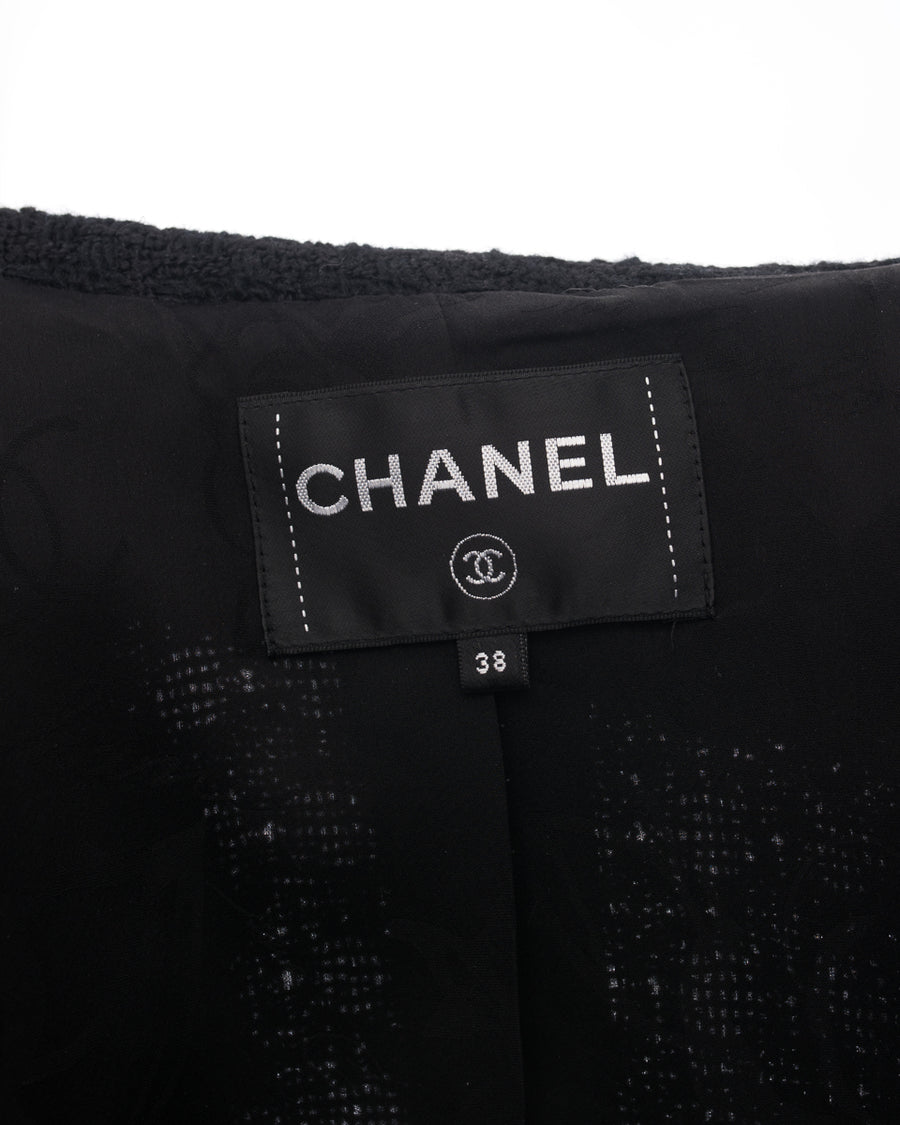Chanel Black Tweed Jacket with Satin Lapel and Rhinestone CC Jewel Buttons