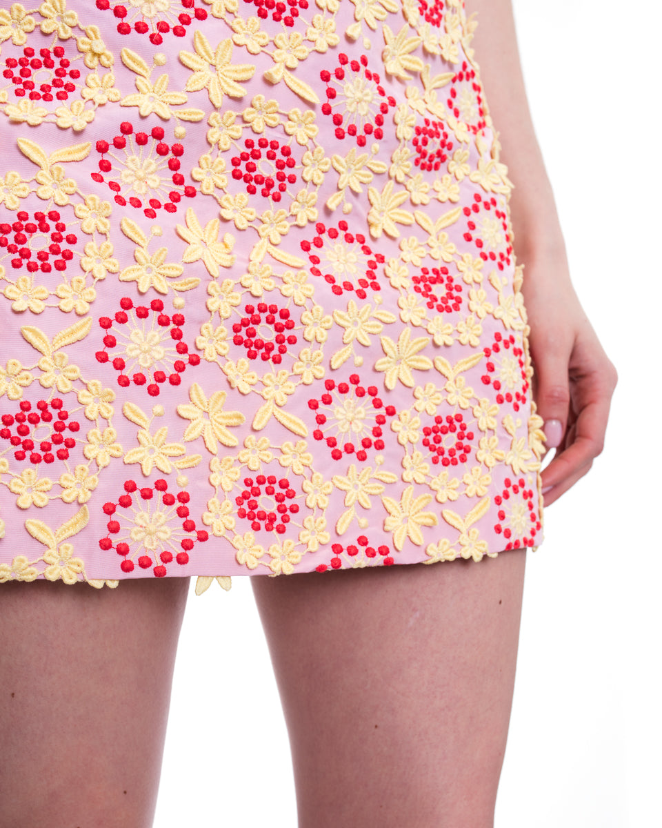Prada Spring 2012 Pink and Yellow Lace Applique Mini Skirt - 2