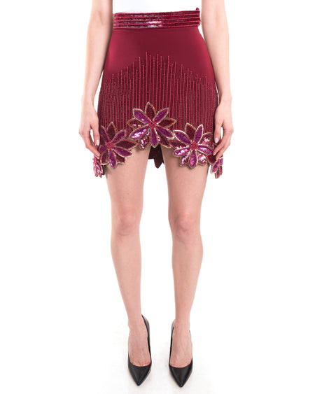Rodarte Spring 2016 Runway Burgundy Hand Beaded Mini Skirt - 0