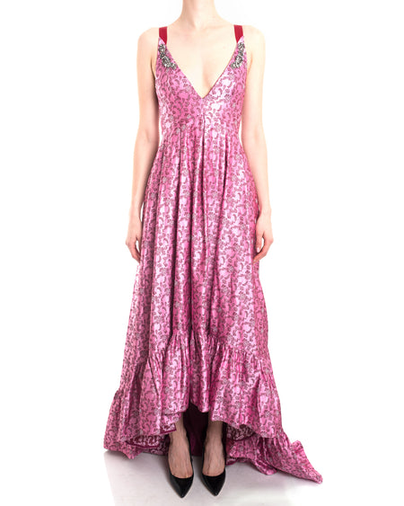 Erdem Pre-Fall 2017 Pink Brocade Ruffle Jewel Gown - 2