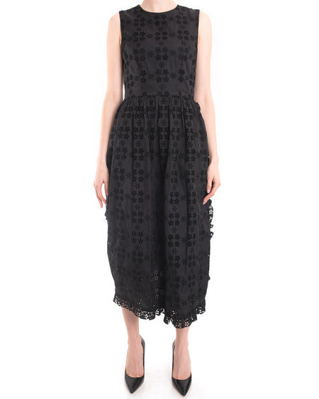 Simone Rocha Black Sleeveless Cotton Eyelet Bustle Dress - 4