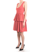 Alexander McQueen Salmon Knit Jersey Peplum Dress - 4/6