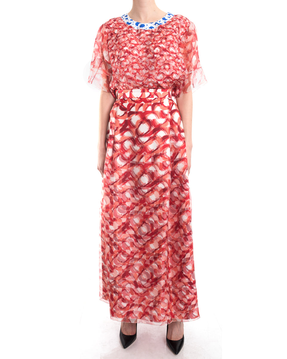 Roksanda Red Sheer Geometric Layered Long Skirt and Top Suit - M