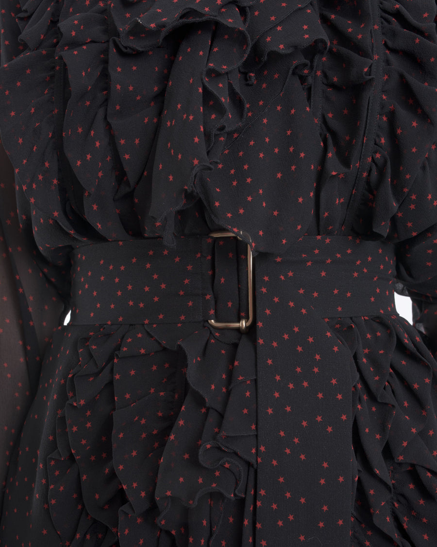 Dries Van Noten Sheer Black Shirt Dress with Red Stars - M