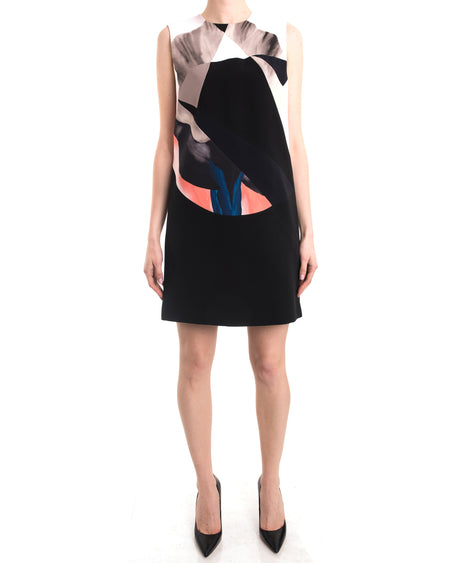 Victoria Beckham Black blue Coral Color Block Shift Dress - 6