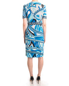 Emilio Pucci Blue Op Art Beaded Jersey Short Sleeve Dress - 6