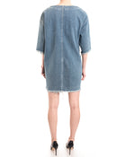 Chloe Denim Distressed Oversized Shift Dress - 6