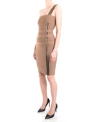 Herve Leger Taupe Bodycon Bandage Beaded 1 Shoulder Dress - XS