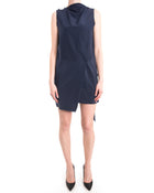 Celine Navy and White Silk Shift Dress with Scarf Sash - 0 / 2