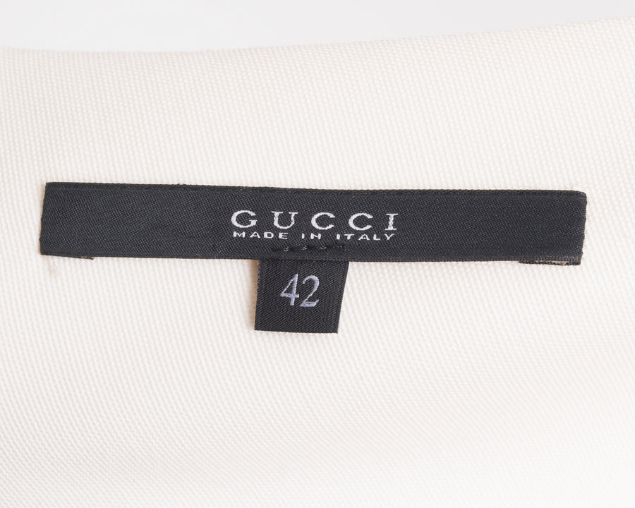 Gucci Ivory Silk Minimal Short Sleeve Top - 6