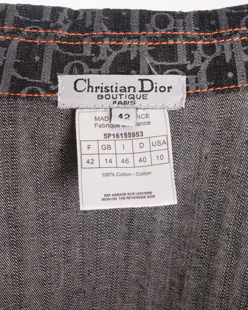 Christian Dior Vintage Galliano Monogram Denim Jean Jacket