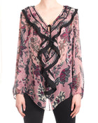 Chloe Sheer Purple Boho Lace Up Blouse Top - 6