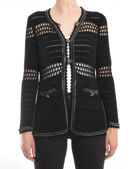 Chanel 10P Black Chain Trim Knit Cardigan - 38