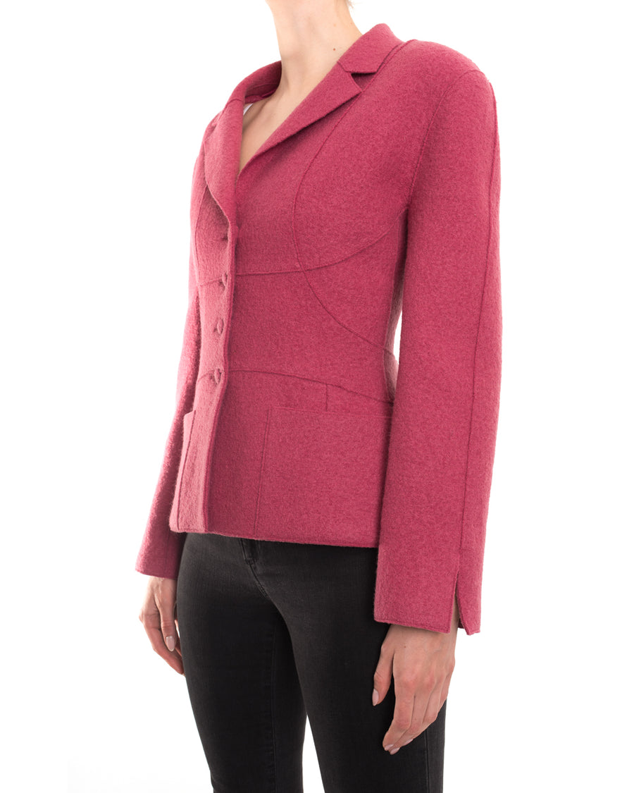 Chanel Vintage 99A Rose Pink Boiled Wool Jacket - 40