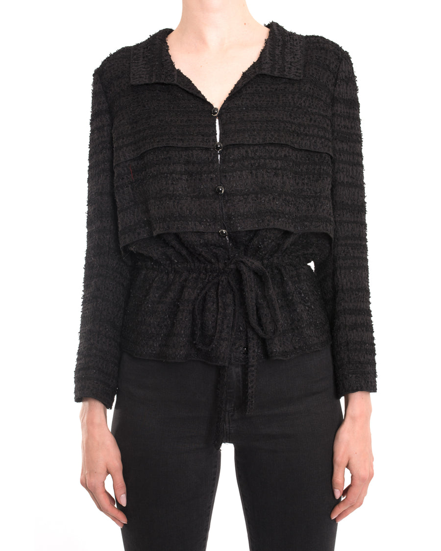 Chanel Black Textured Light Jacket with Drawstring Waist - 38