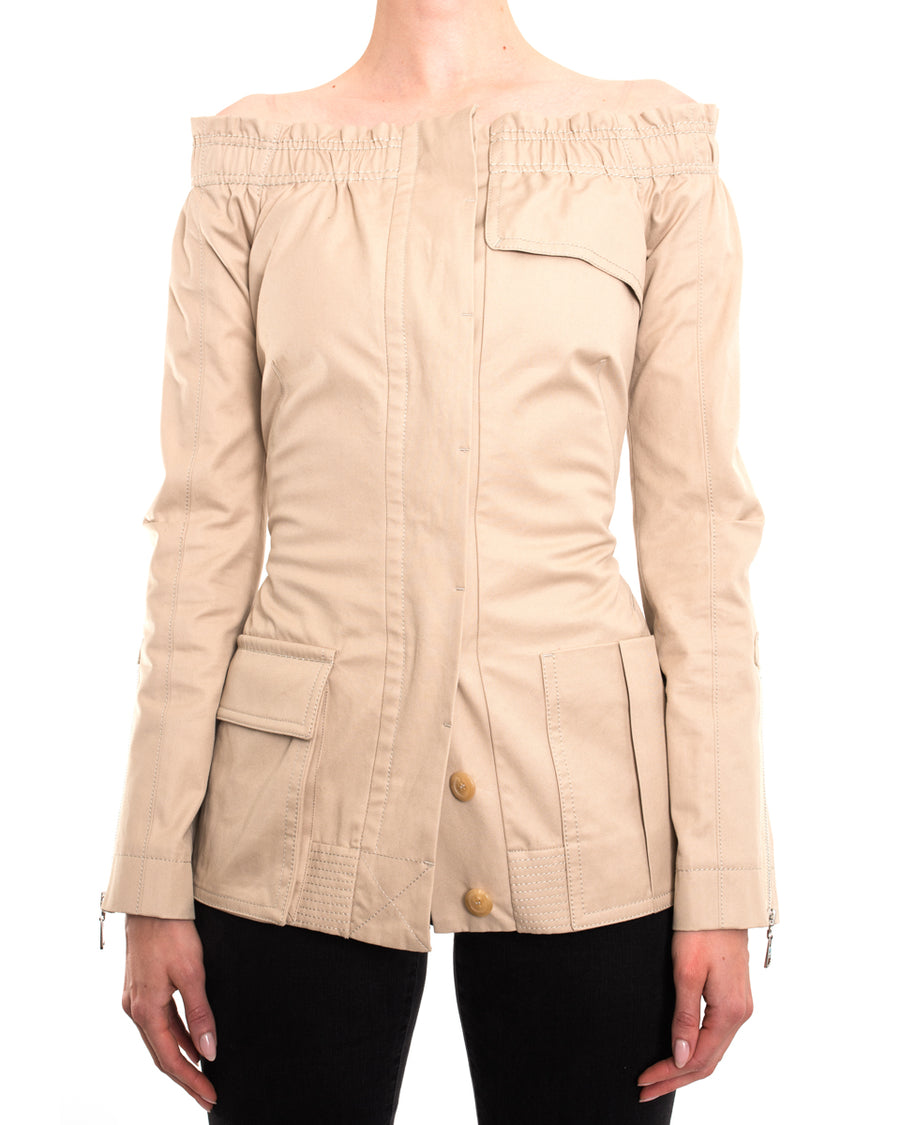 Louis Vuitton Beige Cotton Off Shoulder Fitted Jacket - 38