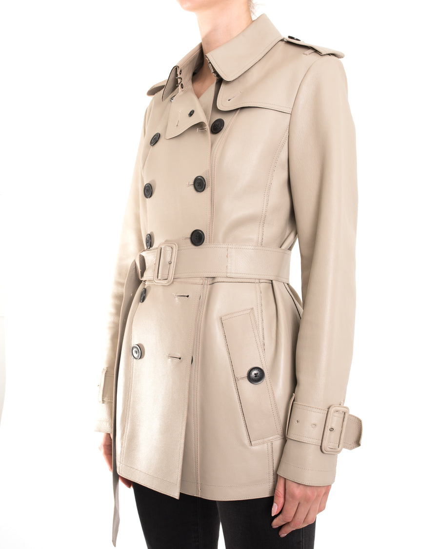 Burberry Beige Leather Short Trench Coat Jacket - 6
