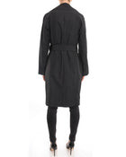 YSL Yves Saint Laurent Black Leopard Lined Trench Coat - 6