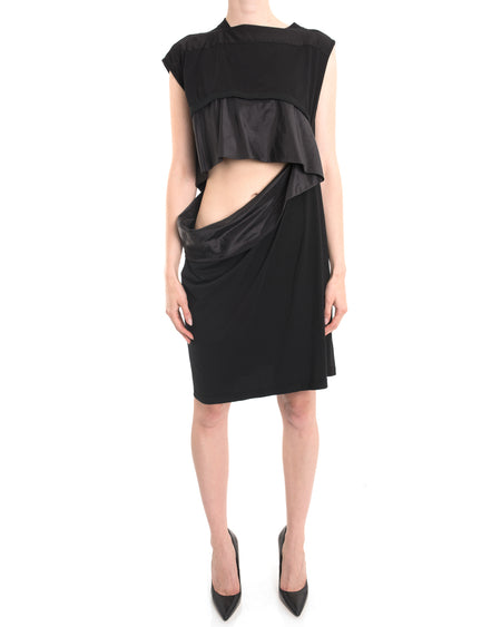 Rick Owens DRKSHW Cut-Out Waist Cotton Shift Dress - M