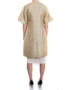 Giambattista Vali Gold Evening Coat and Ivory Silk Dress Set - 4