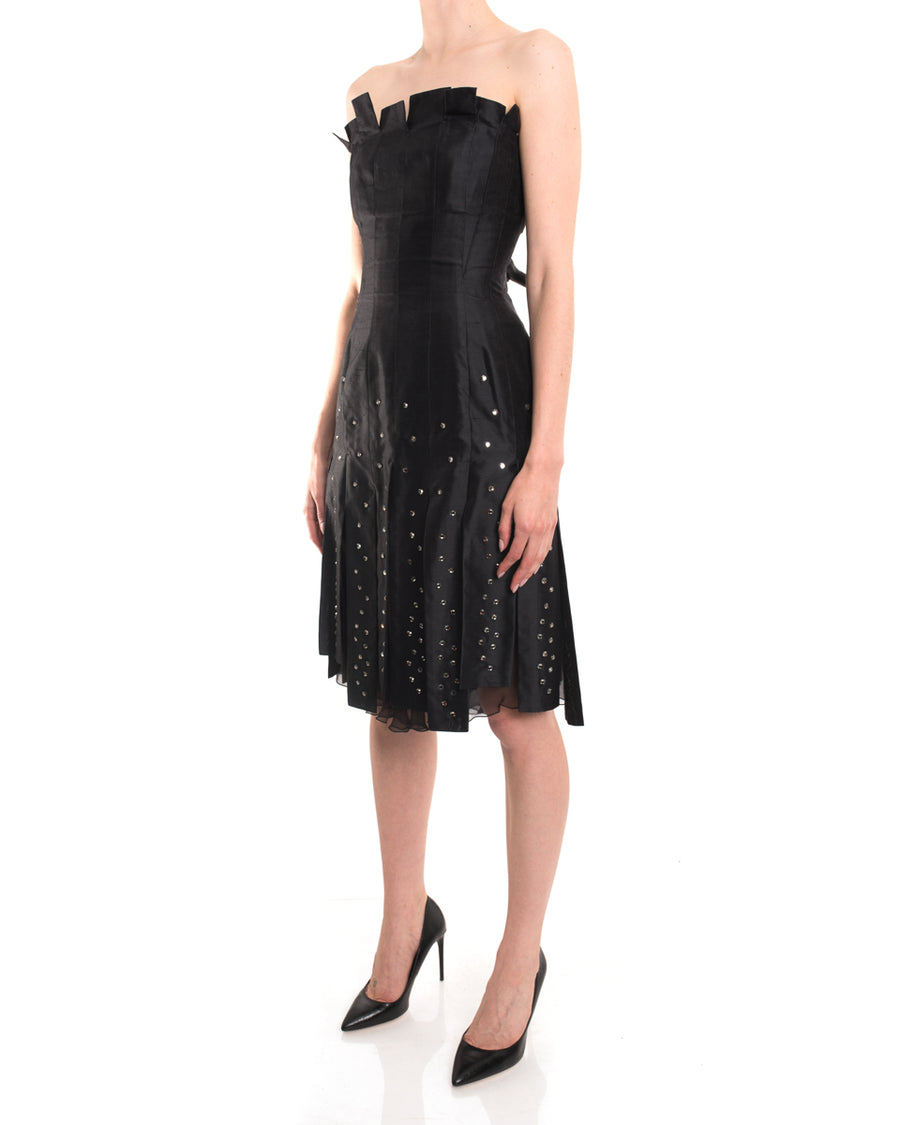 Thierry Mugler Vintage Black Strapless Carwash Jewel Dress - 2