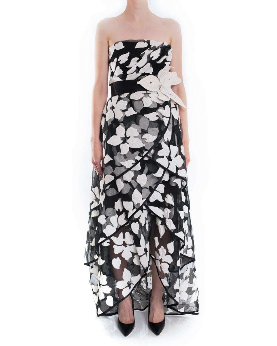Marc Jacobs Black and White Applique Flowers Strapless Gown - 2