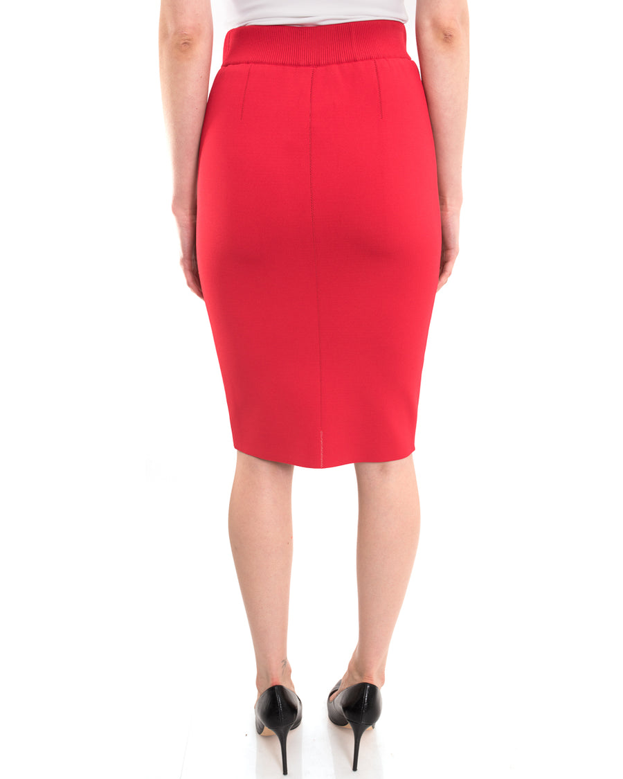 Nina Ricci Spring 2015 Runway Red Stretch Knit Pencil Skirt - S