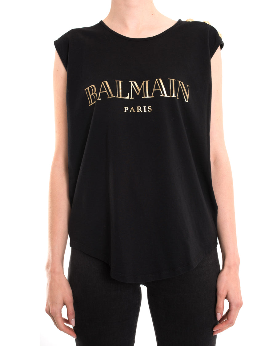 2bd266f0111 Balmain Gold Logo Tank with Gold Buttons - 8 – I MISS YOU VINTAGE